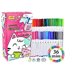 Bút lông 36 màu Fiber Pen Washable - Nét mảnh nét to - Colokit SWM-C006