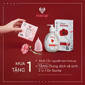 Cốc nguyệt san Inacup Size B 100% Silicone y tế ( Tặng dung dịch vệ sinh tiệt trùng 2in1 Dr.Sante )