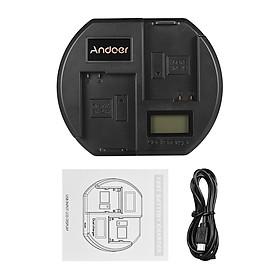 Ổ Sạc Nhanh Andoer Màn Hình LCD Đầu Cắm USB Cho Pin Nikon EN-EL14 (2 Khe) - Đen