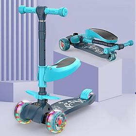 Xe scooter 3 bánh tự cân bằng, 3in1 có ghế gấp gọn, xe chòi chân thăng bằng , xe trượt 3 bánh có nhạc và đèn chiếu sáng (xanh)