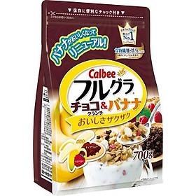 Ngũ cốc Calbee Chocolate Crunch & Banana gói nâu 700gr (Chocolate, Chuối)