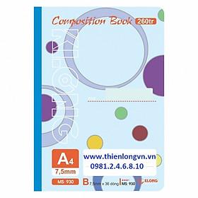 Sổ may dán gáy A4 - 260 trang; Klong 930 - Mẫu 1