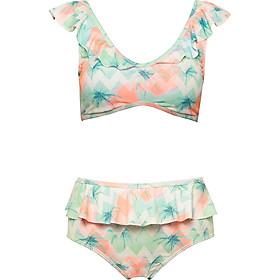 Bikini Hai Mảnh Phối Bèo Điệu Đà, Đồ Bơi Nữ Đi Tắm Biển Hai Mảnh Gợi Cảm, Họa Tiết Lá Dừa, Trẻ Trung, Dễ Thương iBasic BWWset003 - Hàng Chính Hãng