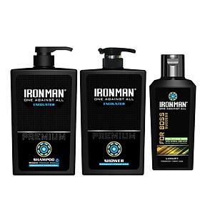 Combo dầu gội + Sữa tắm nhiệt Ironman Encounter 650g + Dung dịch vệ sinh nam tinh chất thảo dược Ironman for Boss 120g