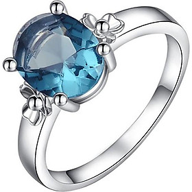 Women Jewelry Blue Crystal Diamonds Ring Silver Wedding Party Engagement