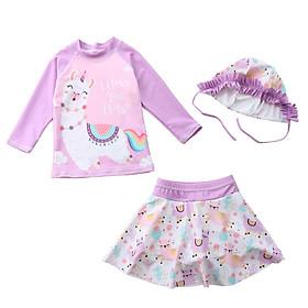 Bộ bơi dày tay quần váy xinh xắn cho bé gái, kèm mũ chống nắng cùng màu, chất thun bơi Hàn dày đẹp | BT17