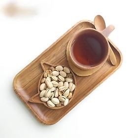 Khay gỗ đựng trà, bánh, khay phục vụ gỗ keo màu nâu xám bóng đẹp.