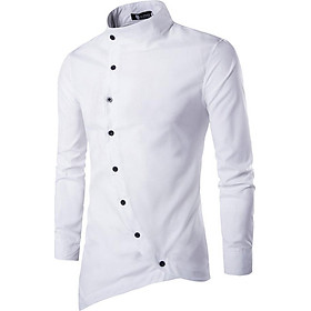 Fun Slim Base Shirt of Stand Collar and Irregular Buttons Solid Color Casual Top Polo Shirt for Man