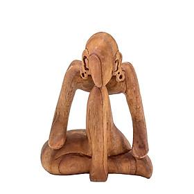 Suy tư – tượng gỗ điêu khắc thủ công trừu tượng – quà tặng nghệ thuật trang trí nhà – bộ sưu tập yoga