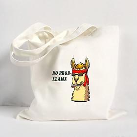 Túi Vải Đeo Vai Tote Bag In Hình No Problem Llama Mẫu 05 - Hàng Chính Hãng