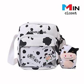 Túi đeo chéo    Túi Vải Canvas Nam Nữ Phong cách Hàn Quốc BÒ SỮA TV11