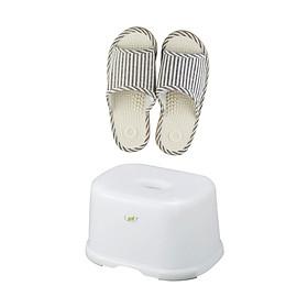 Combo Dép Massage + Ghế Để Chân WC - Nội Địa Nhật Bản