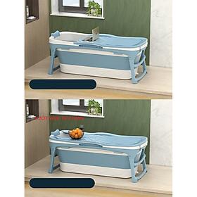 Bồn tắm gấp gọn dùng cho cả gia đình loại có nắp giữ nhiệt nhiều size để lựa chọn - chậu  tắm silicon cao cấp-hàng chính hãng