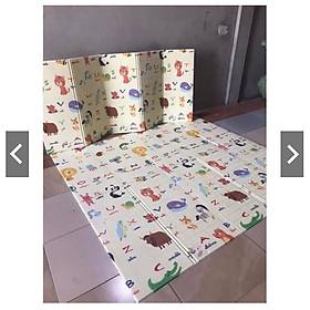Thảm trải sàn xốp XPE 2 mặt phủ Silicon Gấp Gọn mẫu đẹp chống thấm tuyệt đối, chống ngã, cho bé tập bò kèm túi 1m8- 2m