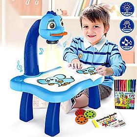 Bộ đèn chiếu hình tập vẽ cho bé  kèm 24 hình vẽ ,bút màu , có nhạc, dùng pin AA,Đồ chơi tâp vẽ cho bé tặng 1 Quyển sách Ehon Hình khối: Ghép hình cùng Ryo và Kaku