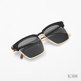 Kính thời trang nam nữ, Mắt kính râm đen gọng kim loại cao cấp K308 thu_sam_shop