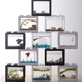 Mini Fish Tank, Desktop Micro-Landscape Fish Tank, Aquarium Kit, Stackable Building Blocks Superimposed Fish Tank