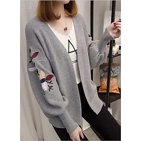 Áo khoác cardigan len nữ dày tay thêu hoa ArcticHunter, thời trang trẻ, thương hiệu chính hãng
