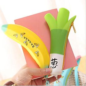 Túi, hộp đựng bút silicon hình chuối ngộ nghĩnh, đáng yêu chống thấm nước có khóa kéo (giao màu ngẫu nhiên)