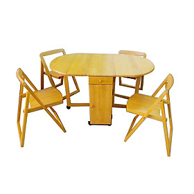 Bộ bàn ăn xếp gọn gỗ cao su xuất khẩu màu vàng sáng Hi Furniture
