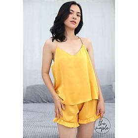 Bộ mặc nhà nữ Lụa phối dây chéo lưng vs quần nhún bèo xinh The Maple Size M