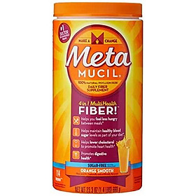 Metamucil Fiber, 4-in-1 Psyllium Fiber Supplement, Sugar-Free Powder, Orange Smooth Flavored Drink, 114 Servings (Packaging May Vary)
