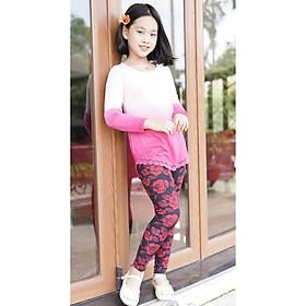 Áo thun dài tay (mầu hồng), len tăm mỏng, ôm nhe, thoải mái, cho size từ 15-65kg