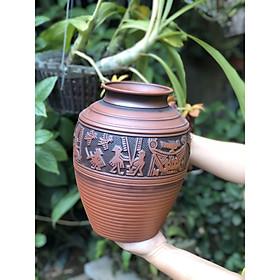 bình cắm hoa gốm khắc tay trống đồng