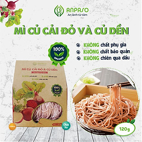 Mì Rau Eat Clean Củ Cải Đỏ và Củ Dền Hữu Cơ Organic Anpaso, Giảm Cân , ăn chay, không chiên nóng, tốt cho tiêu hóa 120g