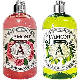 Combo Sữa Tắm L'amont En Provence Rose Shower Gel + Olive Shower Gel (500ml/chai)