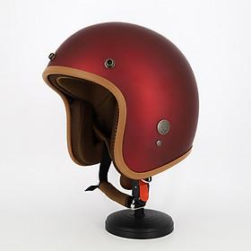Mũ bảo hiểm 3/4 đầu SRT Classic viền nâu, lót màu cao cấp - tặng kèm lưỡi trai