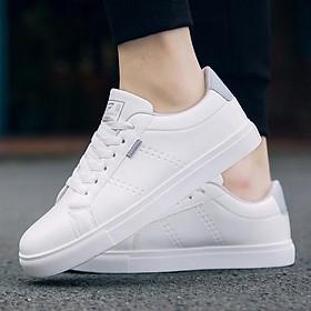 Giày thể thao nam đế bệt trắng cổ điển 2020 018 - trắng ghi - giày sneaker nam