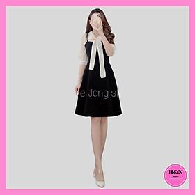 Váy Thiết Kế dáng suông, váy suông phối voan buộc nơ cổ tiểu thư xinh xắn - H&N Store