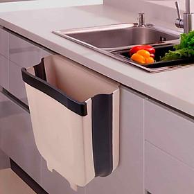 Thùng rác gấp gọn thông minh kẹp tủ nhà bếp tiện dụng - màu cà phê