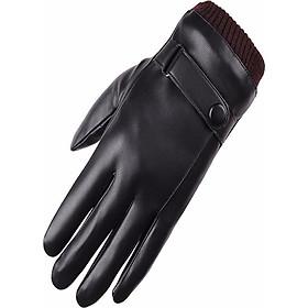 Găng tay da nam cảm ứng 10 ngón chống nước giữ ấm NEW