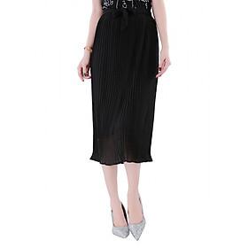 Chân Váy Nữ Nữ Dập Ly Buộc Nơ - Đen (Size M)