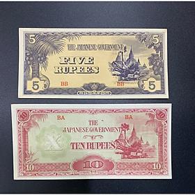 Cặp tièn quan đội Nhật Bán ở Miến Điện Myanmar 5 Rupees và 10 Rupees xưa thời thế chiến 2