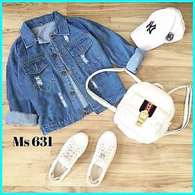 Áo khoác Jeans nữ, Áo khoác bò nữ màu xanh KMT21601