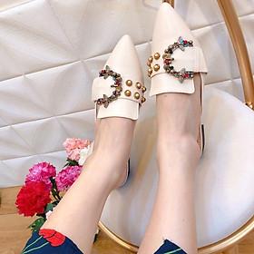 Giày sục nữ thời trang khóa đính đá, giày cao gót đến vuông mũi nhọn, gót cao 2p chuẩn size