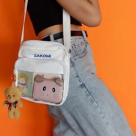 Túi vải canvas đeo chéo phong cách thời trang hàn quốc ZTDCCANVAS, túi đeo cho nữ nhỏ xinh với 2 ngăn đựng đồ tiện lợi-TẶNG KÈM GẤU BÔNG CỰC MINI DỄ THƯƠNG