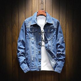 New men's Japanese denim jacket youth slim jacket large size casual jacket (05)