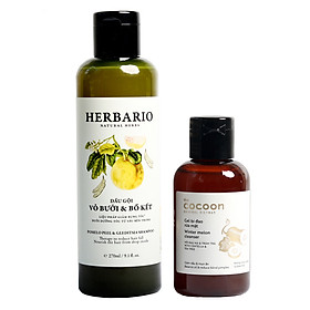 Combo dầu gội bưởi bồ kết herbario 270ml + Gel rửa mặt bí đao cocoon 140ml