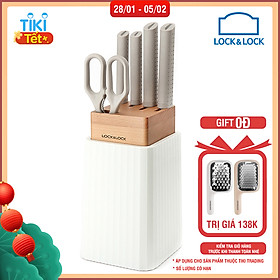 Bộ Dao 6 Món Lock&Lock (4 Dao, 1 Kéo, 1 Hộp Đựng Dao) CKK802