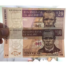 2 tờ tiền cổ Malawi, 10 và 20 Kwacha, quốc gia nhỏ nhất Lục Địa Đen