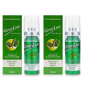 Bộ 2 Chai Xịt Thơm Miệng Greelux Fresh Mint Cool ( Màu xanh lá - Chai 12ml )