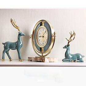 Cặp Tượng Hươu phong thủy kèm Đồng hồ để bàn - Decor trang trí phòng khách