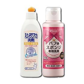 Combo Elmie Nước rửa dụng cụ trang điểm 80ml + Nước giặt cổ áo (Hàng nội địa Nhật)