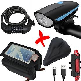 COMBO5 Bộ Phụ Kiện Xe Đạp Thể Thao | Túi Treo Khung , Khóa Xe Đạp 5 Số | Đèn Pha Xe Đạp Kết Hợp Còi 7588, Đèn Hậu Sạc USB Và Bọc Yên
