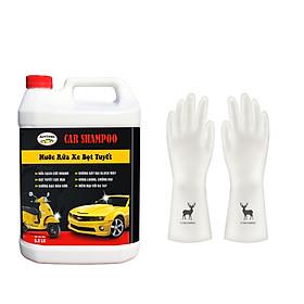 Nước rửa xe bọt tuyết chuyên dụng Car Shampoo 5L - Tặng 1 đôi găng tay siêu dai hình Hươu