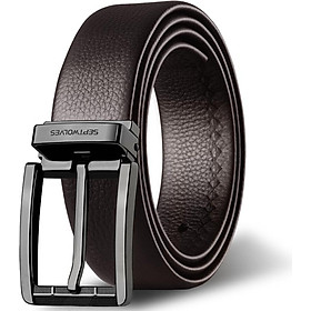 Seven wolves men's belt business casual top layer leather pin buckle belt belt men 7A528112000-09 brown